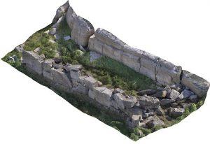 3D-Modell einer Lagerhausruine in Igaliku, Grönland. Das Lagerhaus misst 13,5 × 4 m und wurde an den Felsen angebaut.