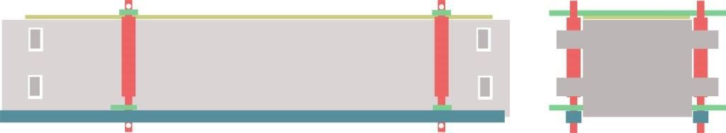 Abb. 2 Schematische Rekonstruktion der Einzelteile der Totenbahre auf Basis von Skizzen von durch Štefan Hritz, Karol Pieta und Tereza Štolcová (Archäologisches Institut in Nitra) und Juraj Zajonc (Institut für Ethnologie und Sozialanthropologie in Bratislava), alle Slowakische Akademie der Wissenschaften. Grafik: N. Lau, ZBSA.
