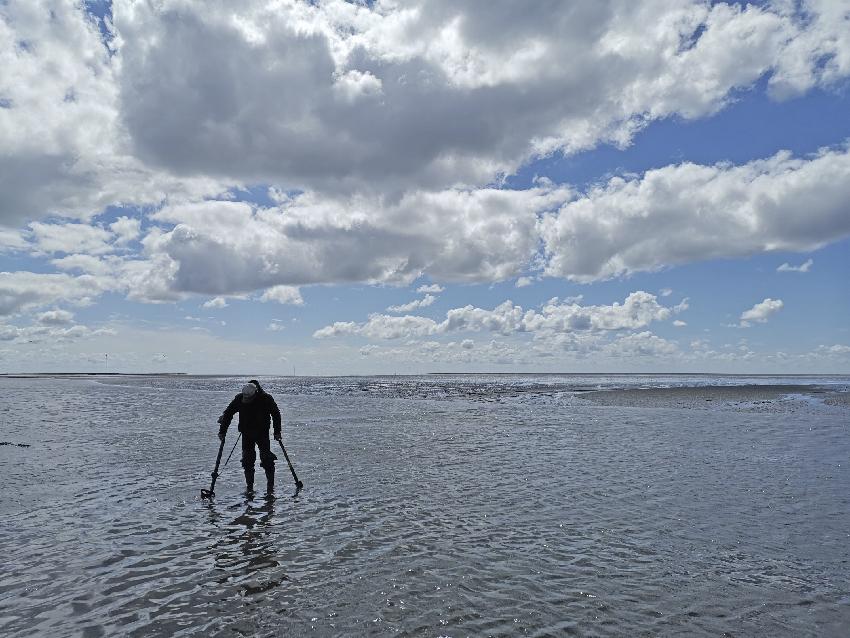 Die Umstände im Wattenmeer stellen den Detektorgänger und sein Gerät vor besondere Herausforderungen (Foto: Ruth Blankenfeldt).