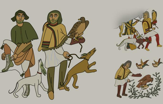 Falknereimotive aus einem Beitrag zur Bildforschung am ZBSA: Mosaik-Bild-Zyklus aus dem antiken Argos (rund 1.500 Jahre alt).