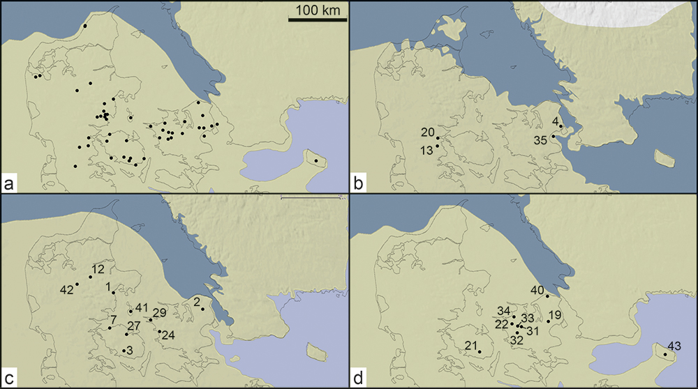 Dated osseous stray finds from Palaeolithic Denmark in the different biozones.