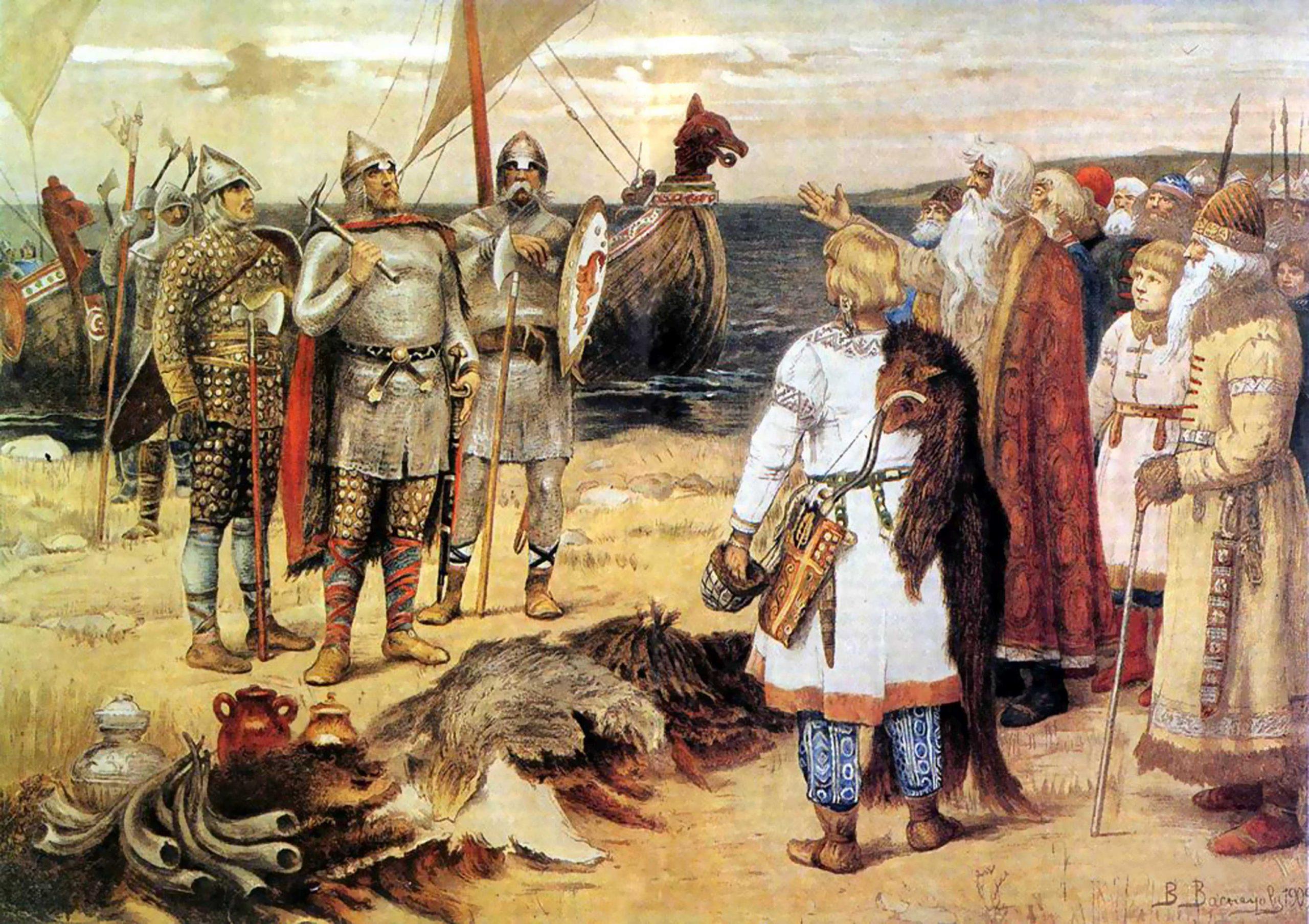 """Abb. 2: Die Ankunft des Warägers Rjurik und seiner Brüder Sineus und Truvor im Jahr 862 in Ladoga nach der """"Berufungslegende"""" in der Nestor-Chronik. Gemälde des Russischen Malers Viktor Vasnecov (1848-1926) aus dem Jahr 1909 (Wikipedia Commons)."""