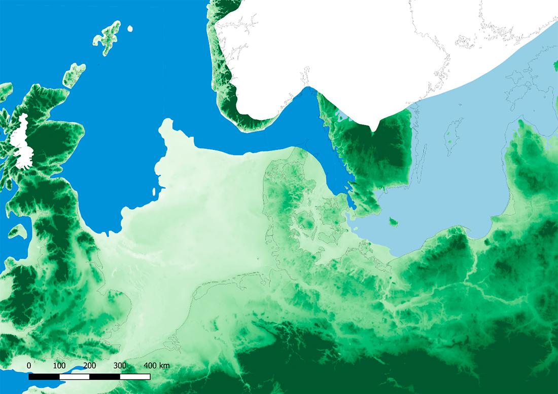 Abb. 1: Nordeuropa am Ende der letzten Eiszeit (Allerød-Interstadial - 11950-10750 cal. BC) (Karte: epha.zbsa.eu, CC-BY 4.0)
